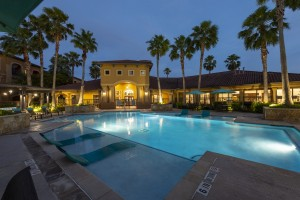 Three Bedroom Apartments for Rent in Northwest Houston, TX -Evening View of Clubhouse & Pool Area (3) (1)